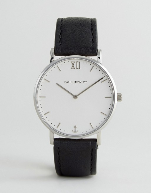 Paul Hewitt Sailor Leather Watch In Black 39mm