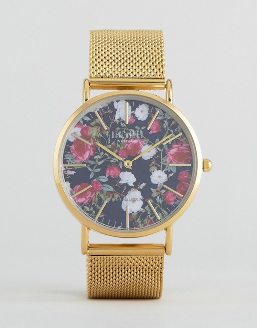 Reclaimed Vintage Inspired Floral Print Mesh Watch In Gold