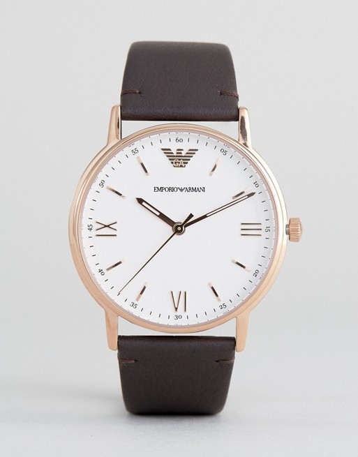 Emporio Armani AR11012 Leather Watch In Brown