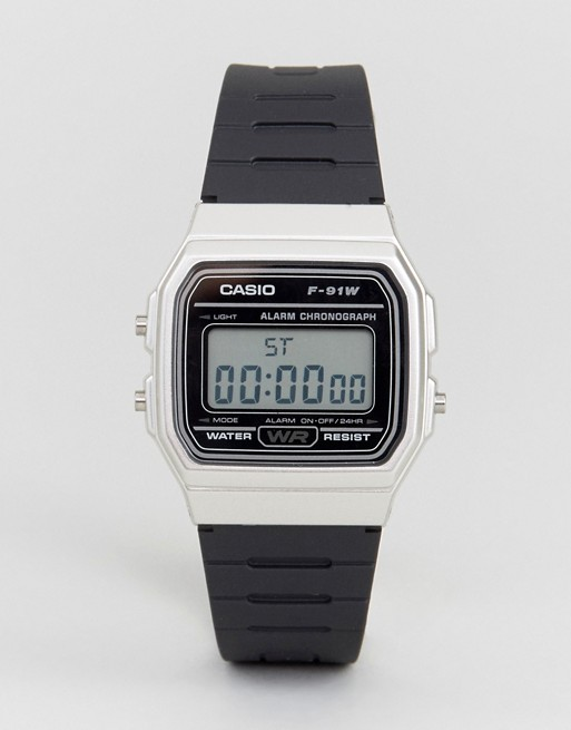 Casio Digital Silicone Strap Watch in Black/Silver F91WM-7A
