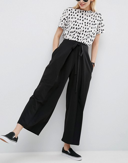 ASOS Clean Pleat Pants with Waist Tie Detail