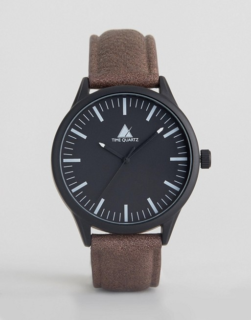 ASOS Watch With Distressed Faux Leather Strap And Black Case