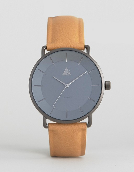 ASOS Watch With Tan Faux Leather Strap And Smoked Case
