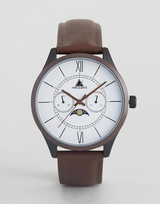 ASOS Watch With Brown Faux Leather Strap And Moon Dial Face