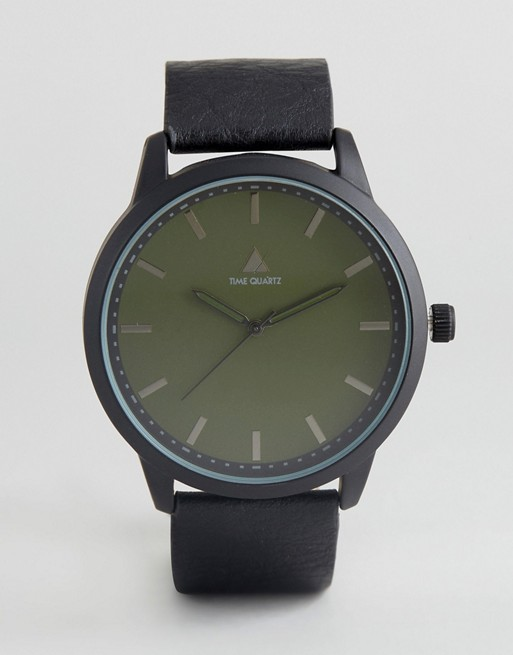 ASOS Watch With Black Faux Leather Strap And Green Face