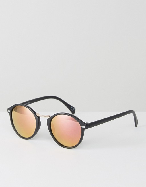 17a8a554c0 ASOS Round Sunglasses In Matt Black With Rose Gold Mirror Lens