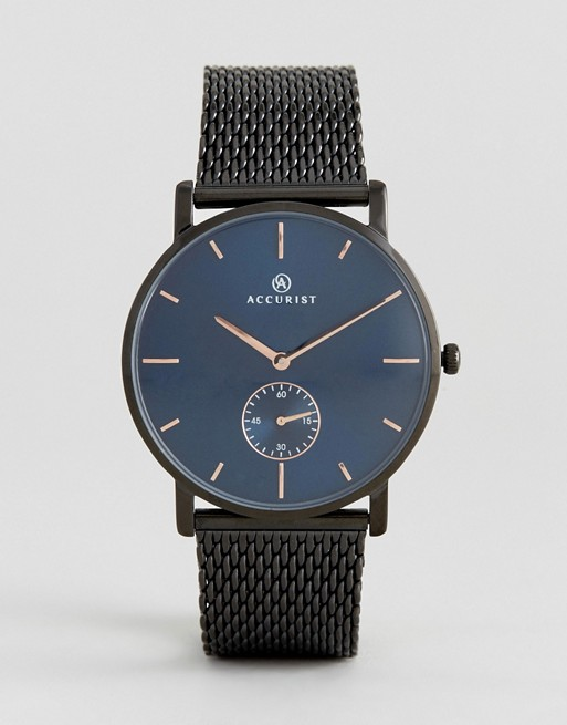 Accurist Black Mesh Watch With Blue Dial