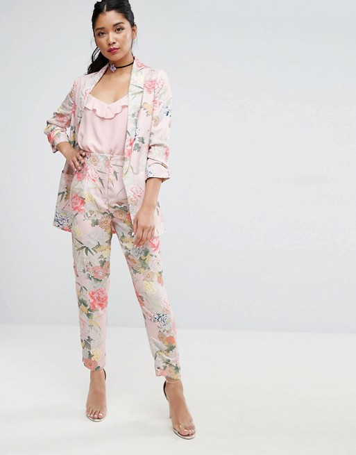 ASOS Mix & Match Floral Bloom Slim High Waist Pants