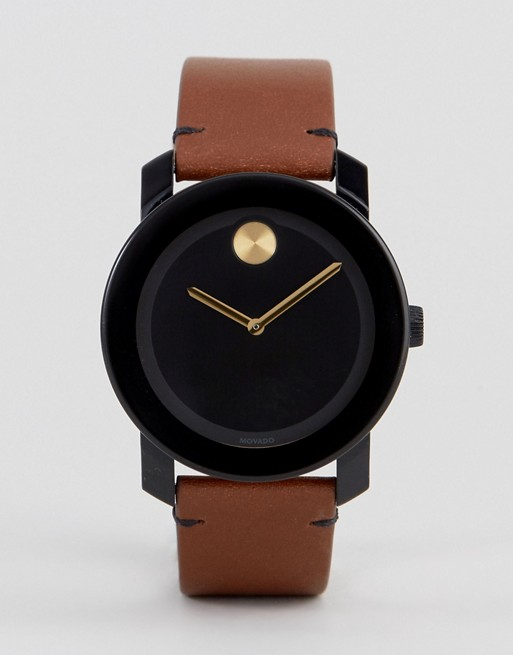 Movado Bold 3600305 Leather Watch In Tan