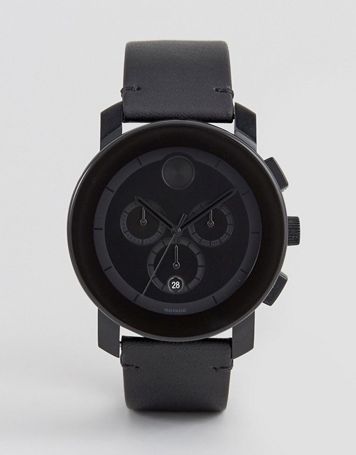 Movado Bold 3600337 Chronograph Leather Watch In Black