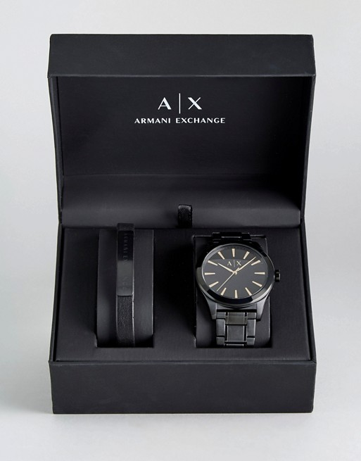 Armani Exchange AX7102 Black Leather Watch & Bracelet Gift Set
