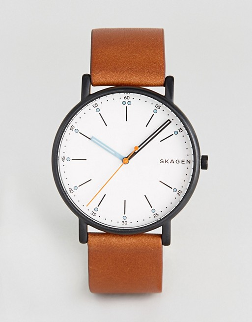 Skagen SKW6374 Signatur Leathere Watch In Brown