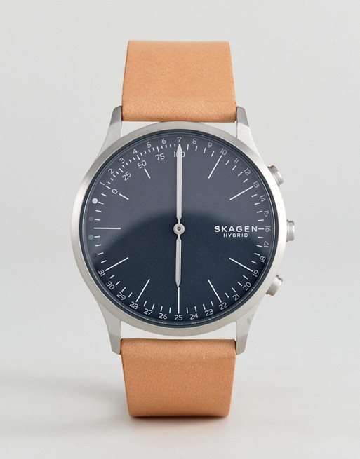 Skagen Connected SKT1200 Jorn Leather Hybrid Smart Watch In Tan