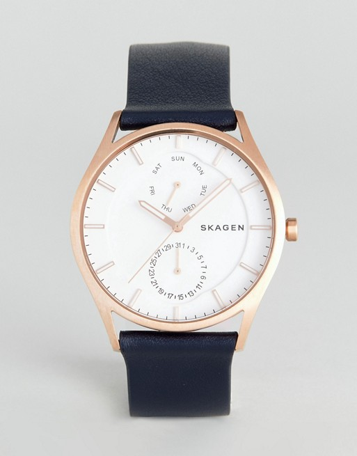Skagen SKW6372 Holst Leather Watch In Navy