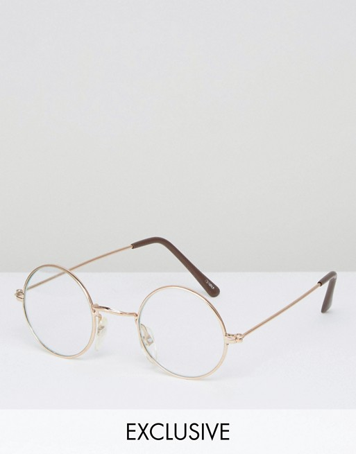 Reclaimed Vintage Round Glasses With Clear Lens