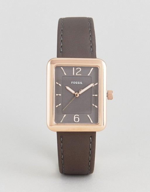 Fossil Square Atwater Leather Watch