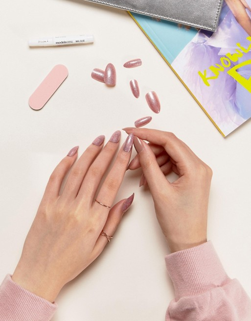 Models Own Pink Fizz Stick On Nails