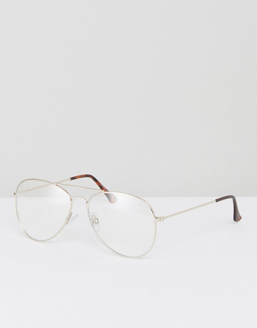 Bershka Aviator Clear Lens Sunglasses